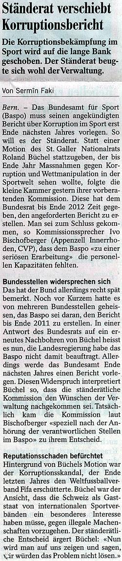 Südostschweiz: Ständerat verschiebt Korruptionsbericht (Motion Roland Rino Büchel)