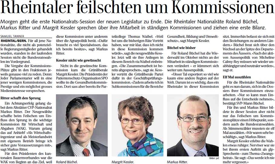 Der Rheintaler: Rheintaler feilschten um Kommissionen