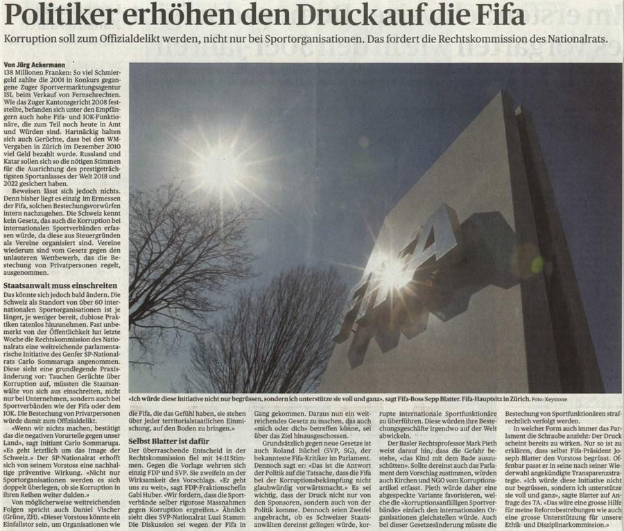 TagesAnzeiger: Politiker erhöhen Druck auf die FIFA
