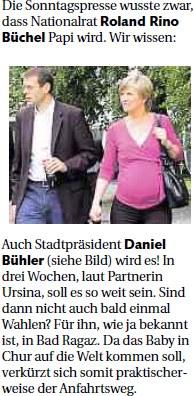 Der Rheintaler: Roland Rino Büchel wird Papi