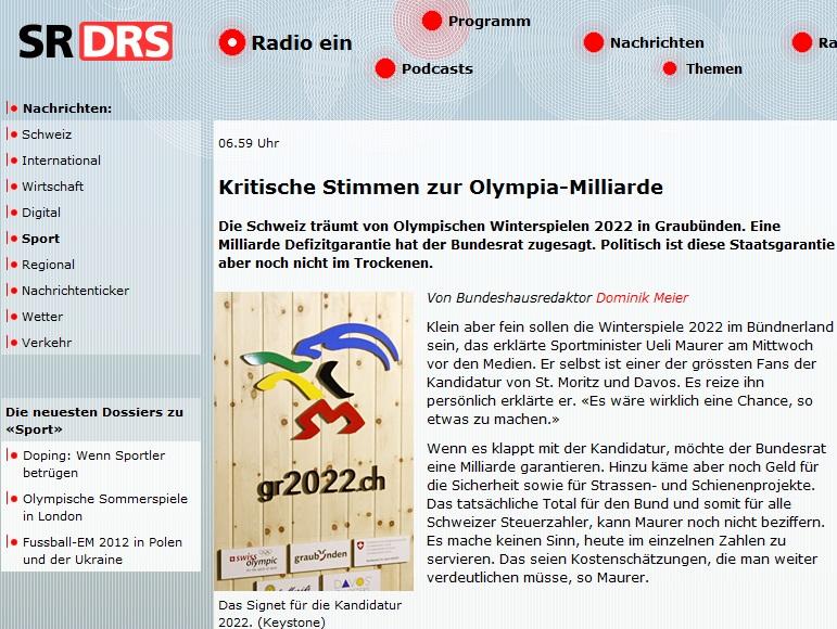 SR DRS: Kritische Stimmen zur Olympia-Kandidatur