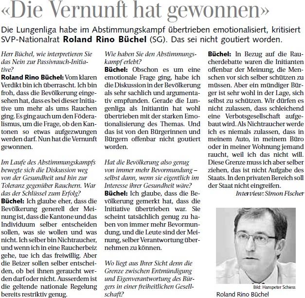 St. Galler Tagblatt: Die Vernunft hat gewonnen