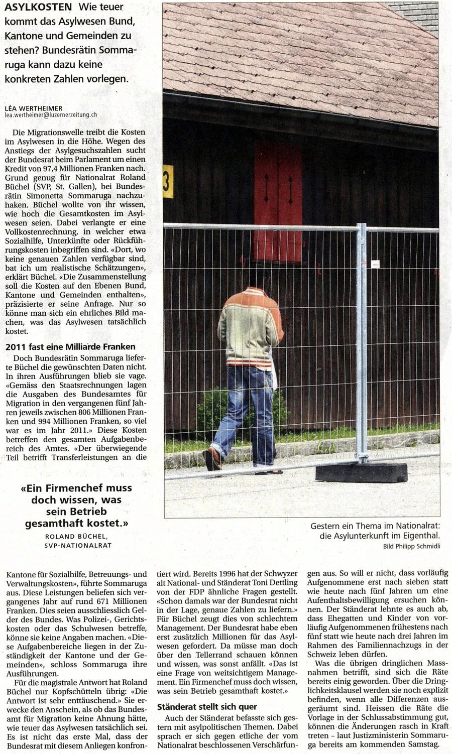Neue Luzerner Zeitung: Asylkosten