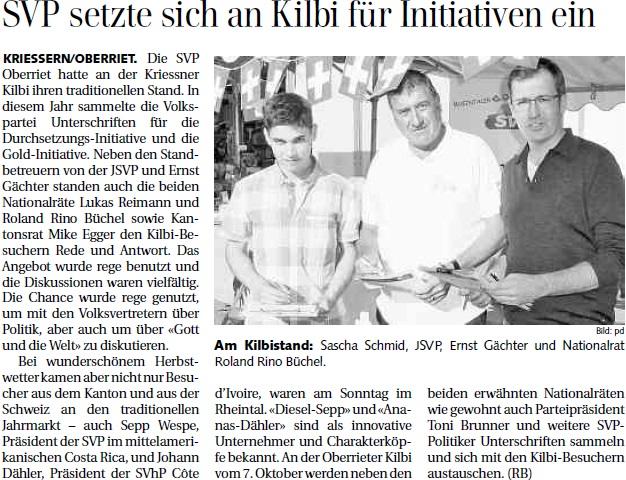Der Rheintaler: SVP setzte sich an Kilbi für Initiativen ein