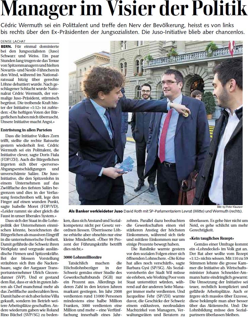 St. Galler Tagblatt: Manager im Visier der Politik