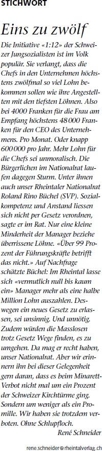 Der Rheintaler: Eins zu zwölf