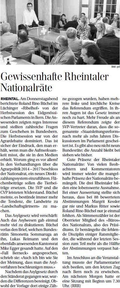 Der Rheintaler: Gewissenhafte Rheintaler Nationalräte