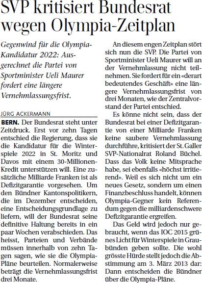 St. Galler Tagblatt: SVP kritisiert Bundesrat wegen Olympia