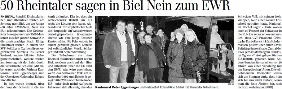 Der Rheintaler: 20 Jahre EWR-Nein - Rheintaler am Fest in Biel