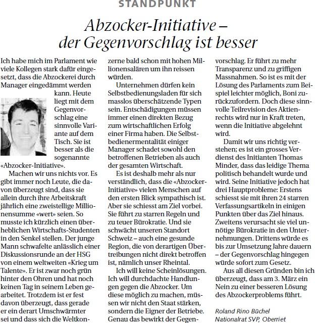 Der Rheintaler: Abzockerinitiative - der Gegenvorschlag ist besser