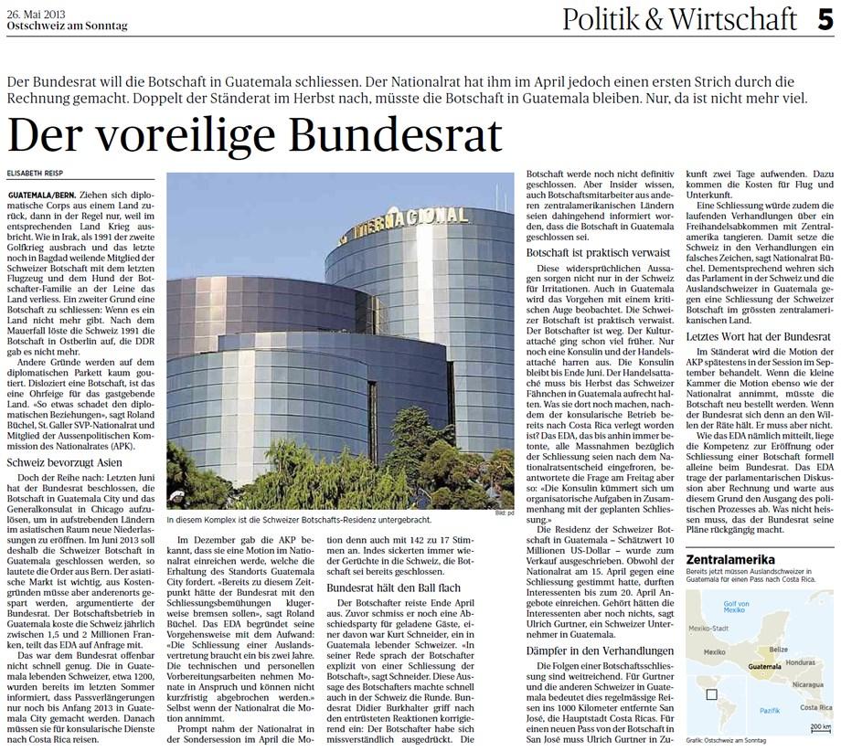 Ostschweiz am Sonntag: Der voreilige Bundesrat