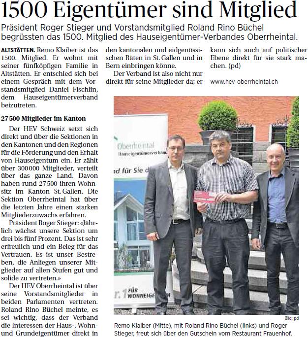 Der Rheintaler: Hauseigentümerverband 1500 Mitglieder