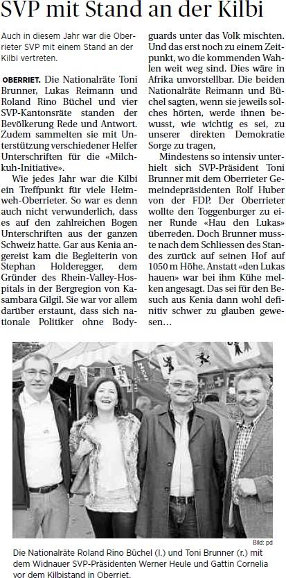 Der Rheintaler: SVP mit Stand an der Kilbi