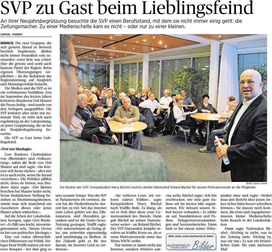 Der Rheintaler: SVP zu Gast beim Lieblingsfeind