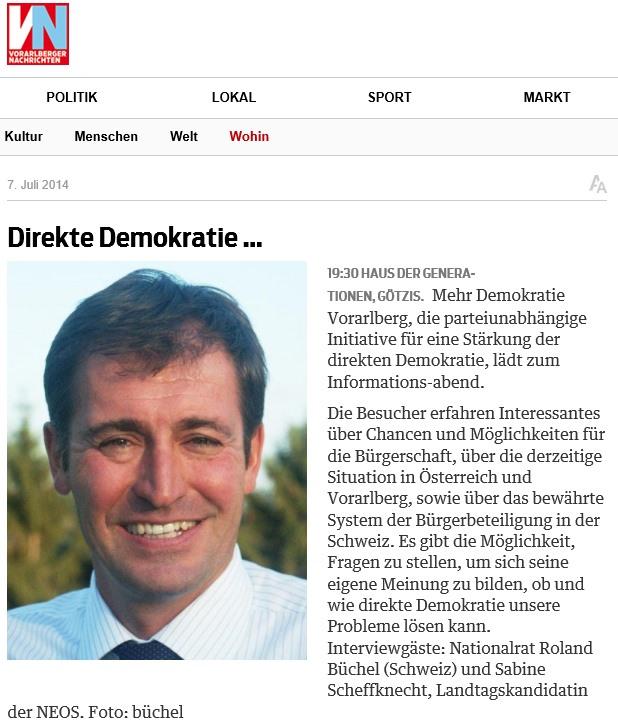 Vorarlberger Nachrichten: Direkte Demokratie