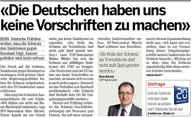 20 Minuten: Die Deutschen haben uns keine Vorschriften zu machen