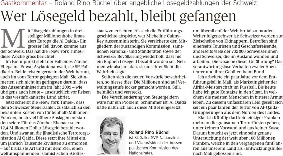Roland Rino Büchel: Wer Lösegeld bezahlt, bleibt gefangen