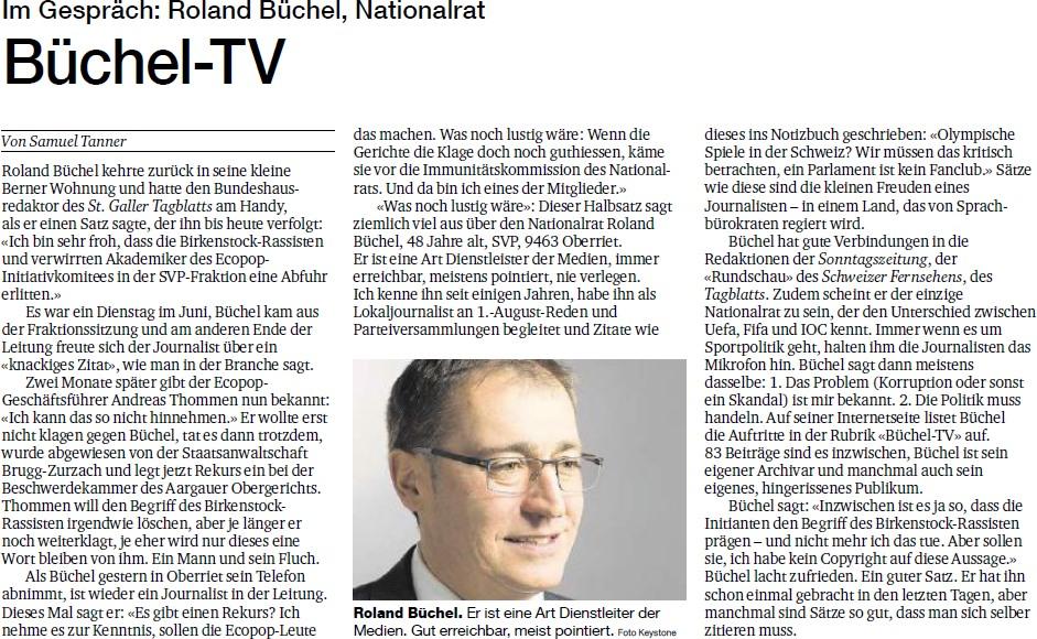 Basler Zeitung: Im Gespräch - Roland Rino Büchel