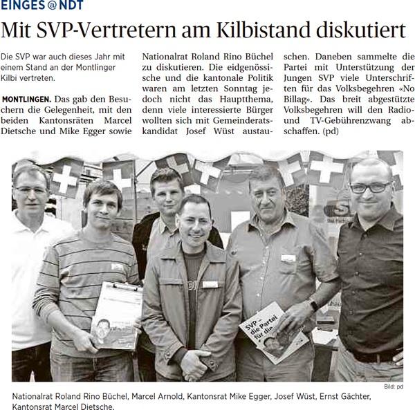 Der Rheintaler: Mit SVP-Vertretern am Kilbistand diskutiert