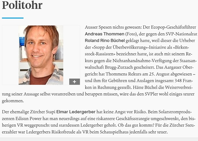 Sonntagszeitung: Andreas Thommen