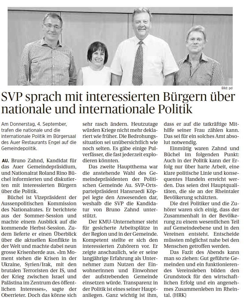 Der Rheintaler: SVP sprach mit interessierten Bürgern