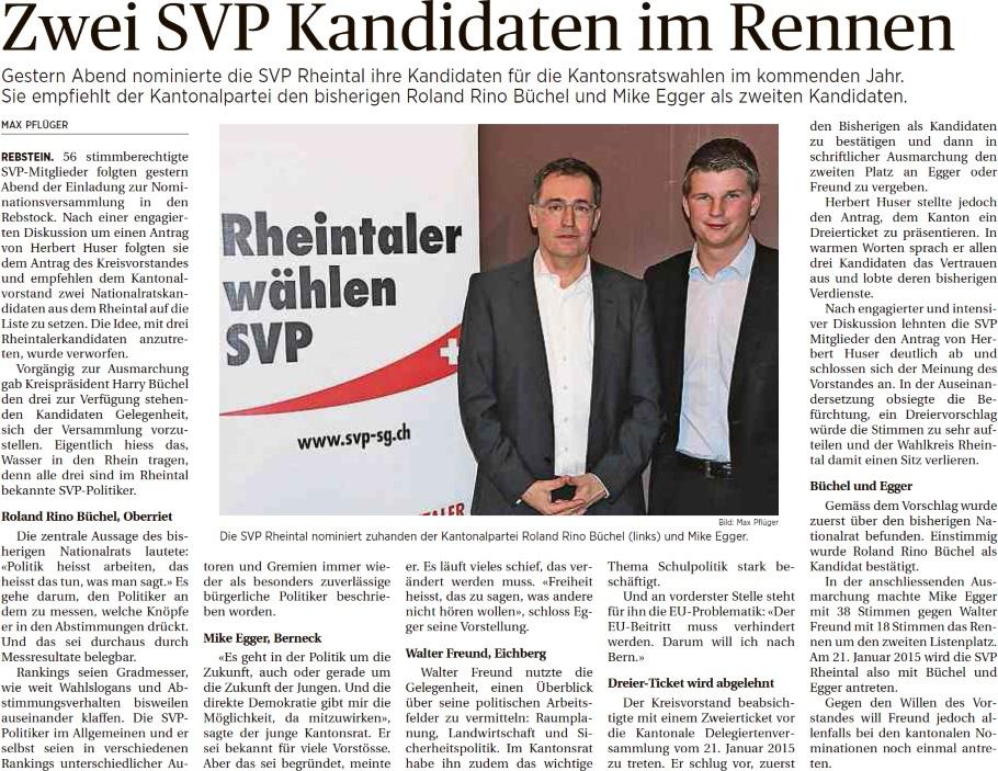 Der Rheintaler: Zwei SVP-Kandidaten im Rennen