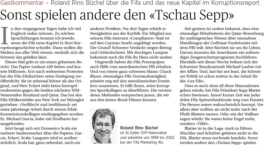 Ostschweiz am Sonntag: Gastkommentar von Roland Rino Büchel