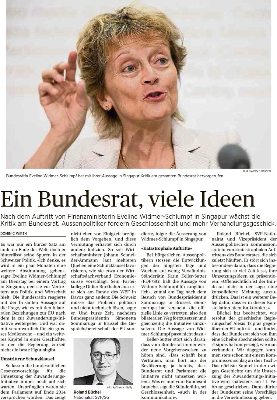 St. Galler Tagblatt: Ein Bundesrat, viele Ideen