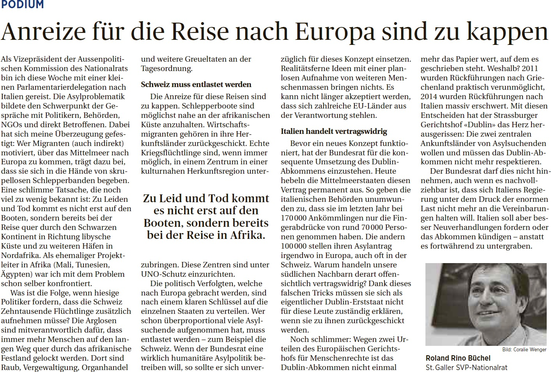 St. Galler Tagblatt: Anreize für die Reise nach Europa sind zu kappen