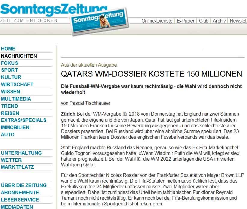 Qatars WM-Dossier / Sonntags Zeitung