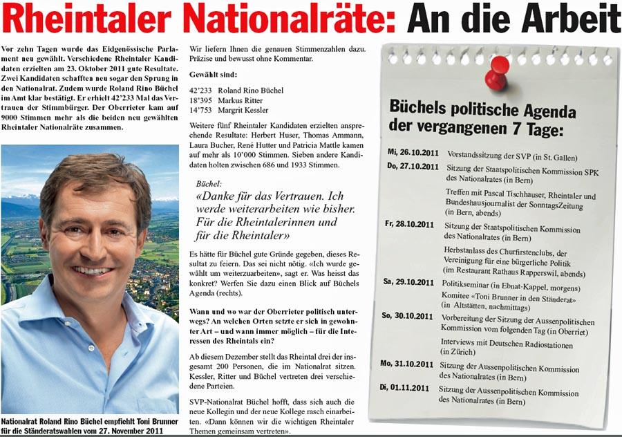 Rheintaler Nationalräte: An die Arbeit (Roland Rino Büchel)