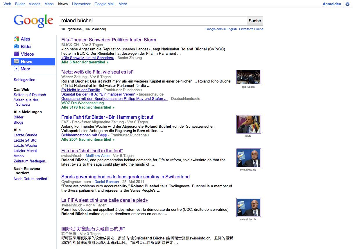 Roland Rino Büchel: Sepp Blatter, FIFA, Korruption - Google Such-Resultate