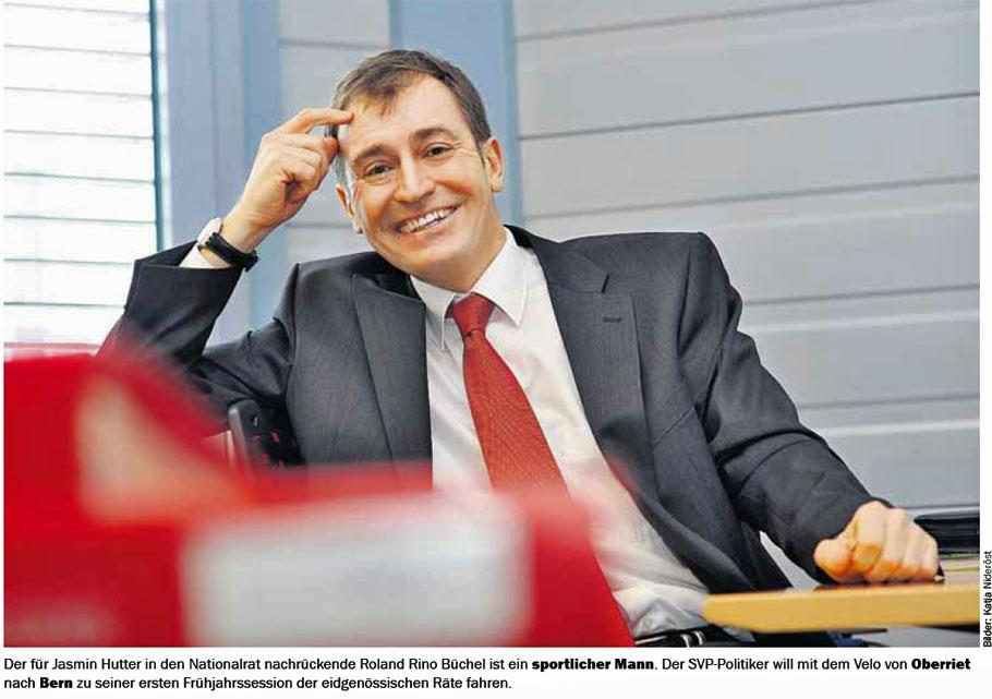 Roland Rino Büchel rückt für Jasmin Hutter in den Nationalrat: Er will mit dem Velo nach Bern fahren.
