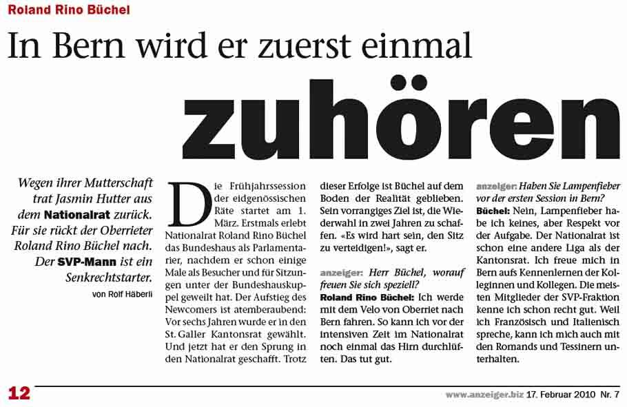 Roland Rino Büchel will im Nationalrat erstmal zuhören.