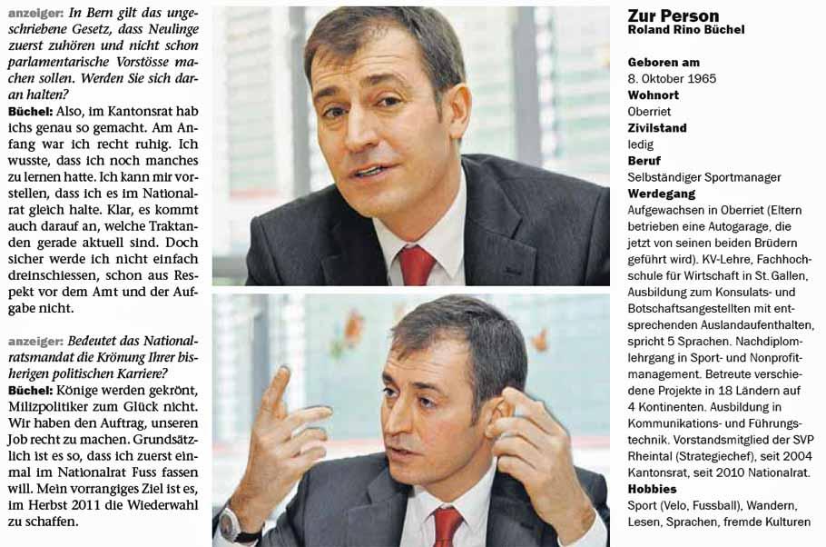 Roland Rino Büchel - Interview mit dem St. Galler Anzeiger.