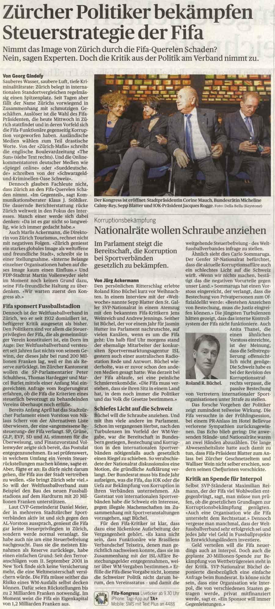 Nationlrat Roland Rino Büchel zieht Schrauben in Sachen FIFA an.