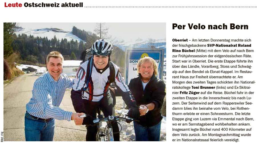 Roland Rino Büchel mit dem Velo nach Bern. Mit Toni Brunner und Fritz Züger.