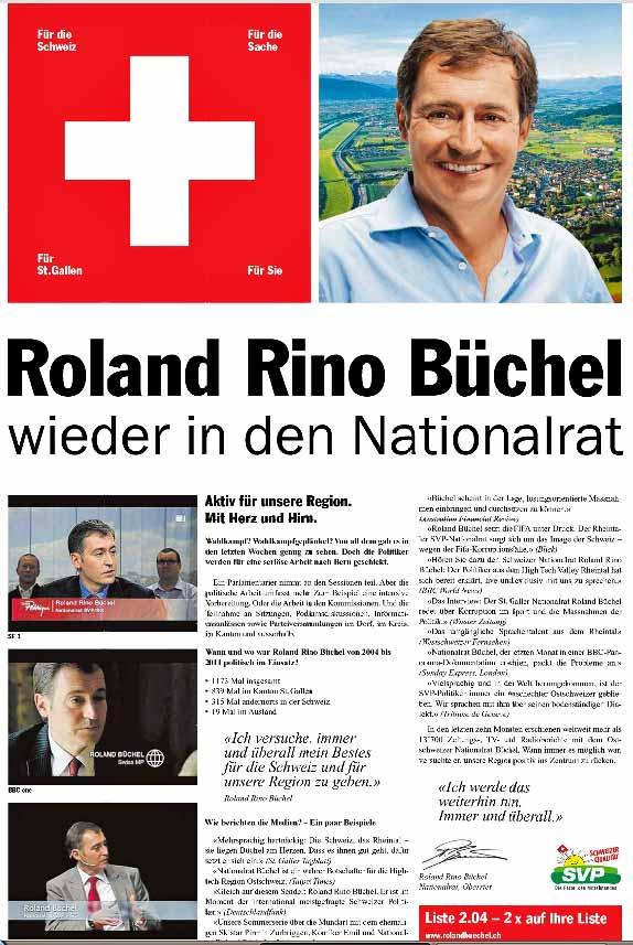 Roland Rino Büchel : Wahlinserat 2011 - Schweizerkreuz