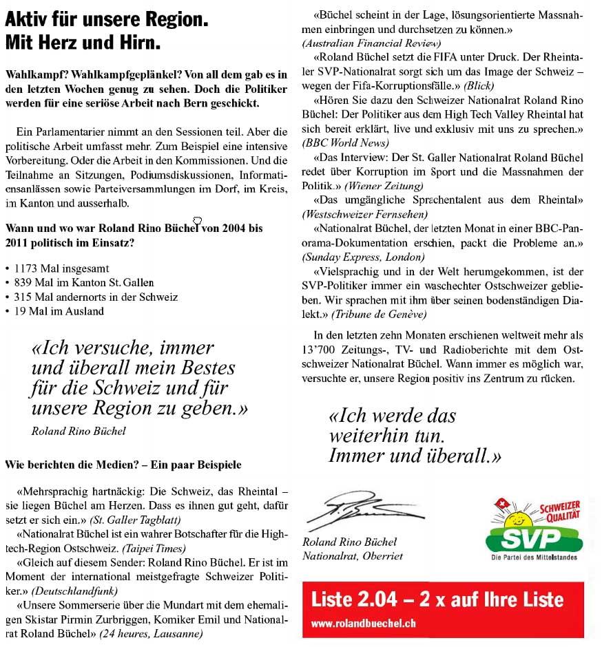 """Roland Rino Büchel : Wahlinserat 2011 - """"Aktiv für unsere Region"""""""