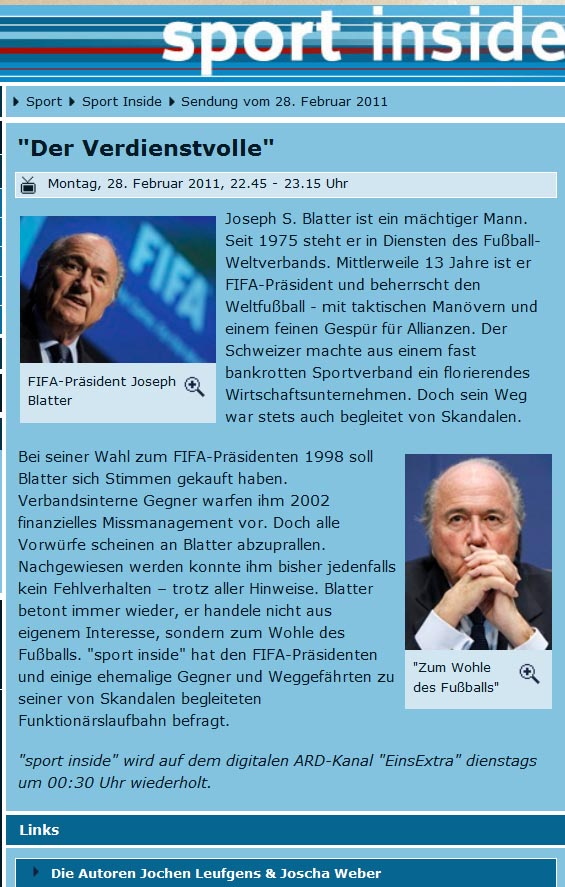 Sepp Blatter zur Korruption in der Fifa im 'sport inside'