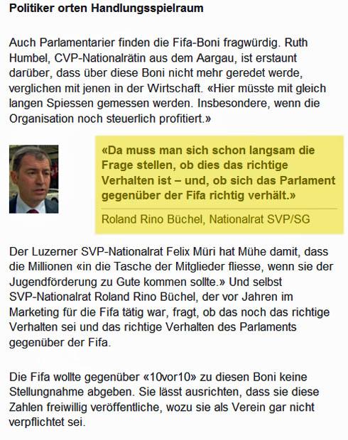 SF1: FIFA - Millionen-Boni verärgern Politiker und Steuerexperten - Roland Rino Büchel