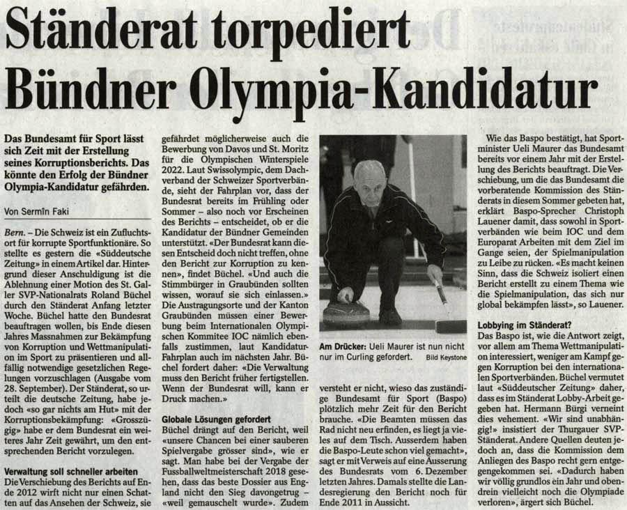 Ständerat torpediert Bündner Olympia-Kandidatur.
