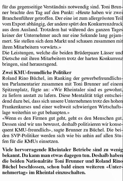 Toni Brunner und Roland Rino Büchel im Rheintal: Besuch von Firmen: KMU Dietsche und Lässer