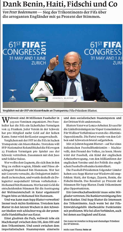 Weltwoche. Peter Bodenmann über Roland Rino Büchel und den FIFA-Korruptions-Skandal